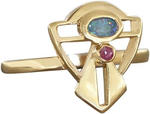 Hobra Gold GOLDRING 750 MIT OPAL UND RUBIN JUGENDSTIL DESIGN