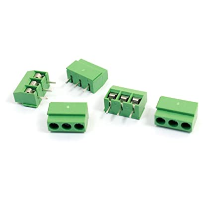 5 Pcs 120-3P 3Position 3Pin 5mm Pitch Screw Terminal Block 300V 10A
