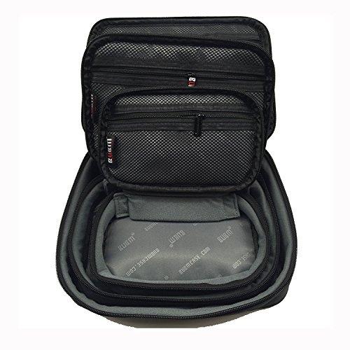 BUBM Electronic Organizer Travel Gadgets Bag For Memory Card USB Battery Power Bank Flash Hard Drive Cord Organizer (3pcs/set, Black, Single Layer)