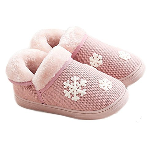 CYBLING Winter Plush House Shoes Snowflake Non Slip Warm Indoor Slippers Soft Sole For Women Pink TQp7l
