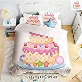 Homenon Bedding 4 Piece Sheet,Pastel Colored Birthday Party Cake with Candles and Candies,Light Pink,Full Size,Wrinkle,Fade Resistant
