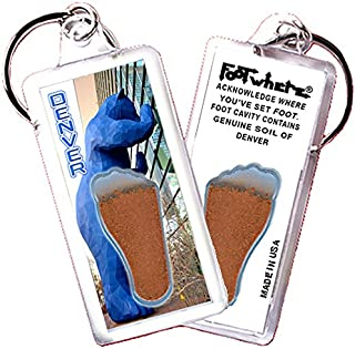 "product image for Denver ""FootWhere"" Souvenir Key Chain. Made in USA (DV103 - Blue Bear)"