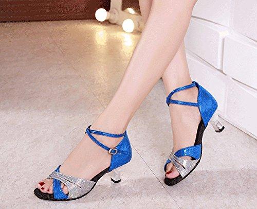 Latine Danse Moyens Danse Chaussures Fond de Bleu Mou Talons Sandale Chaussures de Womens de Sociale Danse Chaussures WYMNAME wpqIxZtYZ