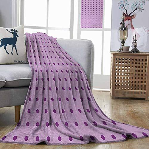 Fickdle Super Soft Blankets Mauve Retro Polka Dots Background Nostalgic Stylized Feminine Girls Fashion Artsy Pattern Plum Lilac Fall Winter Spring Living Room W70 xL84
