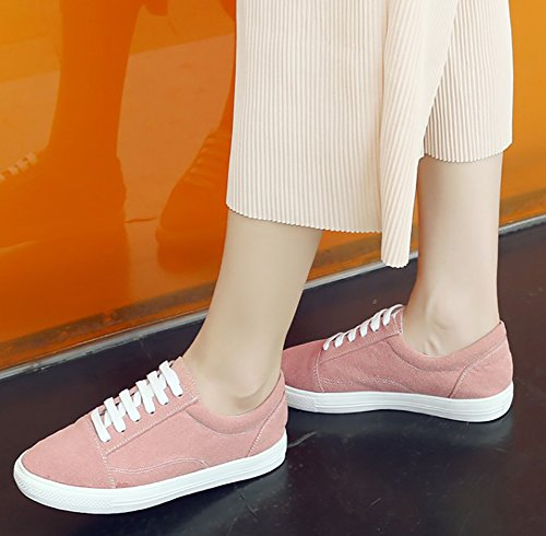 Aisun Womens Casual Lace Up Skate Shoes Low Top Round Toe Thick Sole Flat Platform Sneakers Pink NVEkp