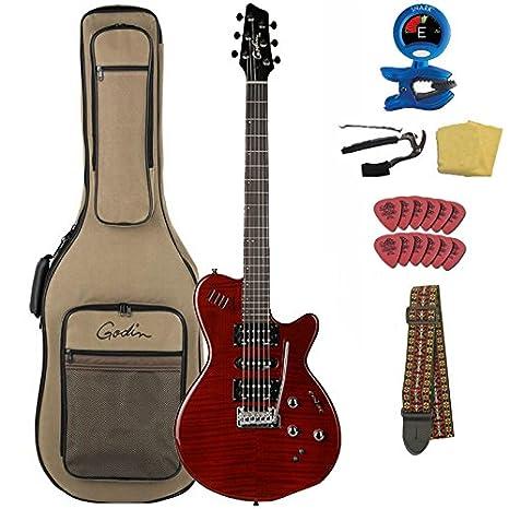 Godin xtsa paquete de guitarra eléctrica (con funda y set de accesorios, Oscuro Trans rojo: Amazon.es: Instrumentos musicales
