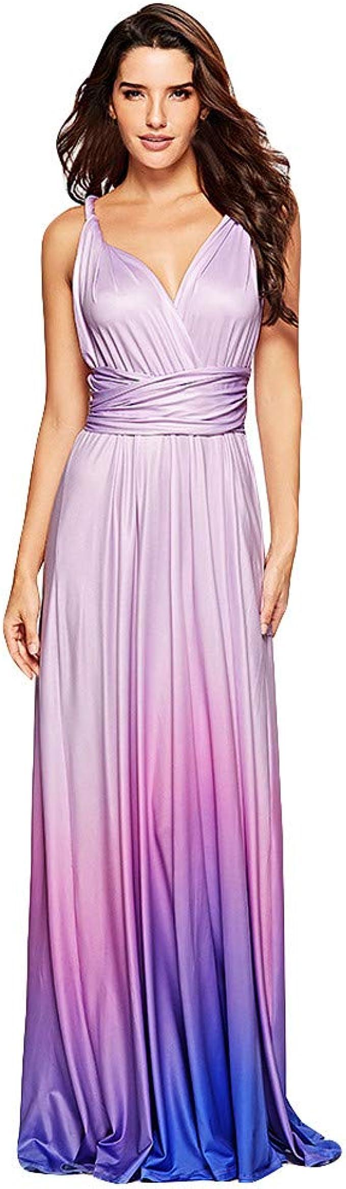 LoveLeiter Frauen Abendkleid Art Tiefer V Ausschnitt Farbverlauf