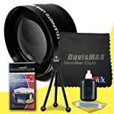49mm 2x Telephoto Lens for Sony Alpha NEX-5T with Sony 30mm f/3.5 Macro Lens + DavisMAX Fibercloth Deluxe Lens Bundle
