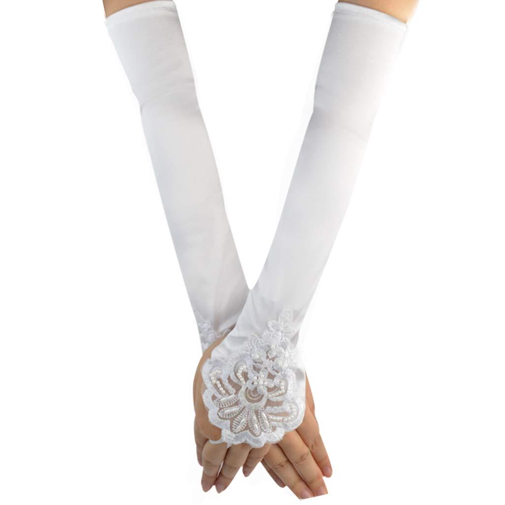 Jerbro 2 Pairs Long Fingerless Satin Gloves Elbow Length 1920s Opera Satin Long Gloves Bridal Party Gloves for Women Girls