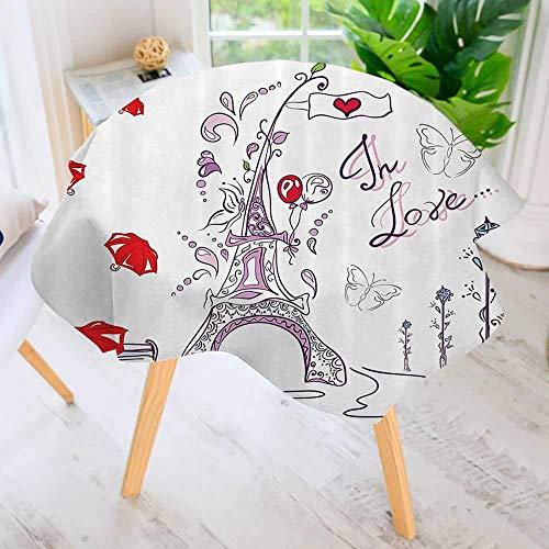 CANCAKA Round Tablecloth for Wedding/Banquet/Restaurant-Autumn Romantic Paris Historical Architecture Valentine Umbrellas Doodle Polyester Fabric Table Cloth 40
