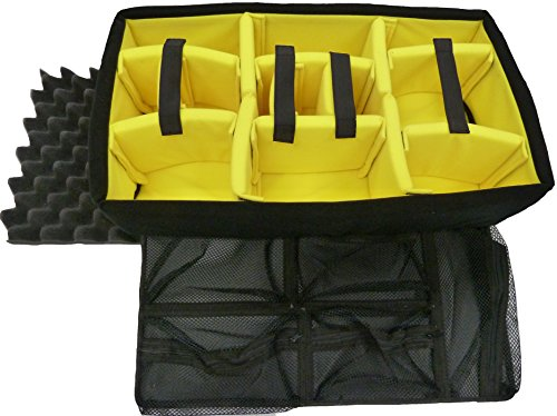 CVPKG Presents - Yellow Padded Divider Set, Lid Foam, 1535 Lid Organizer to fit Pelican 1535.