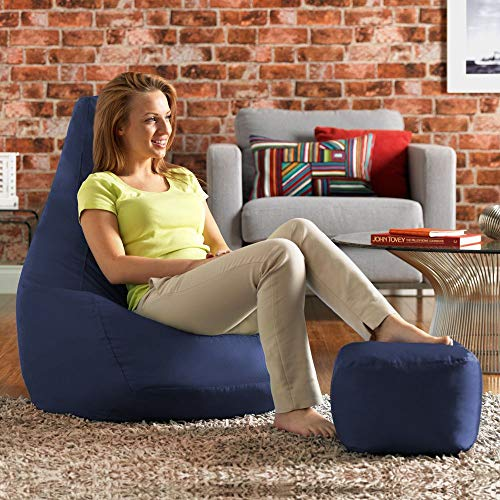 Ink Craft Bean Bag Chair & Matching Footstool Combo - Indoor Outdoor High Back Bean Bags Cover XXL Navy