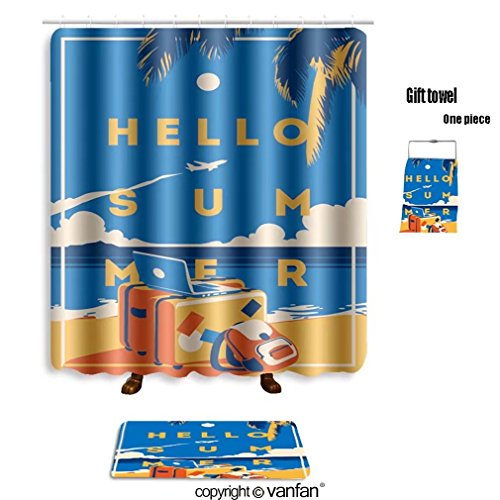 vanfan bath sets with Polyester rugs and shower curtain summer holiday and summer camp poster 6069341 shower curtains sets bathroom 72 x 88 inches&31.5 x 19.7 inches(Free 1 towel and - David Camp Outlet Usa