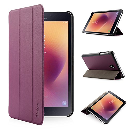 Samsung Galaxy Tab A 8.0 2017 Case, [Only for 2017 Version, SM-T380 T385] iHarbort Ultra Slim Lightweight Smart-Shell Holder Stand Leather case Cover for Samsung Galaxy Tab A 8.0 Inch 2017, Purple