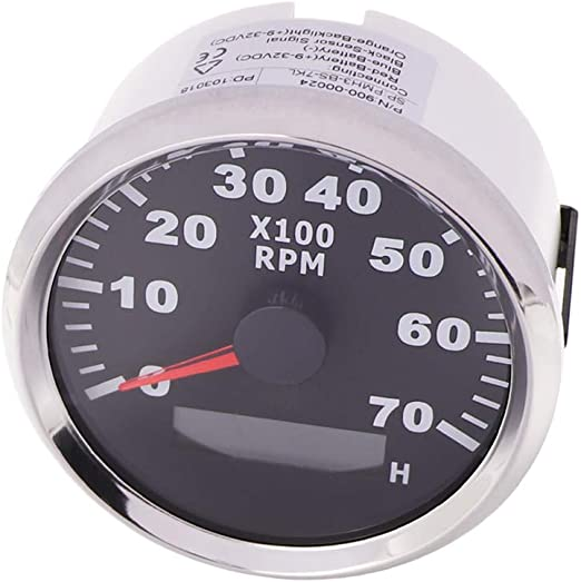 KAOLALI Tac/ómetro Universal RPM Gauge con Cron/ómetro 8000RPM 85mm 12V//24V con Luz de Fondo