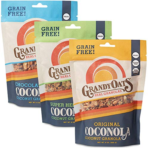 - GrandyOats Grain Free Granola | Variety Pack Coconola | Certified Organic, Gluten Free, Paleo, Dairy Free, Low Sugar, Low Carb, & Kosher | 9oz bags (Pack of 3)