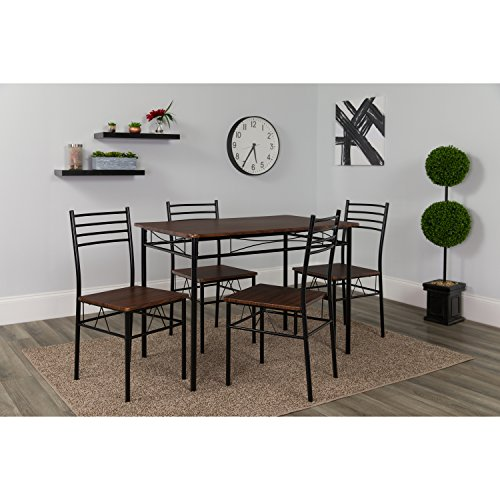Flash Furniture Kingston 5 Piece Walnut Finish Dinette Set w