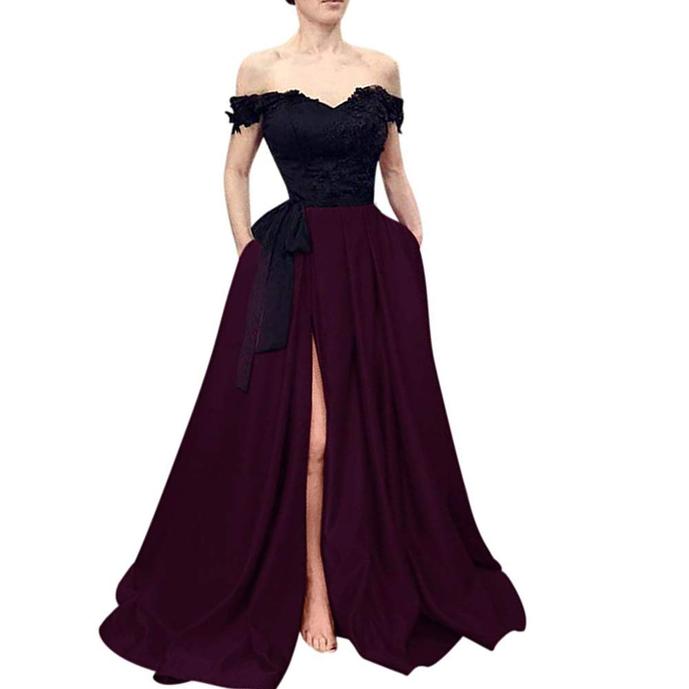 Black Dark Plum Kivary Beaded Lace Off The Shoulder Black Top Long Front Slit Evening Prom Dress
