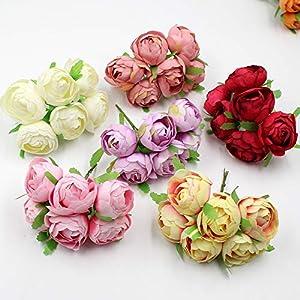 6Pcs/Lot 4Cm Artificial Flower Bouquet Silk Rose Bud Home Wedding Decoration DIY Wreath Scrapbook Gift Box Craft Flower 99