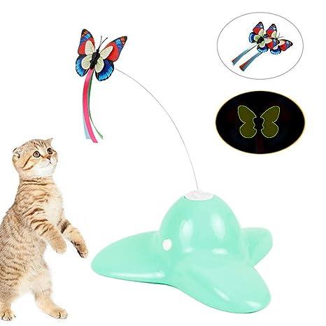 Weesey Inteligencia Juguete para Gato, Mariposa giratoria eléctrica, Juguete para Gato, Flauta giratoria