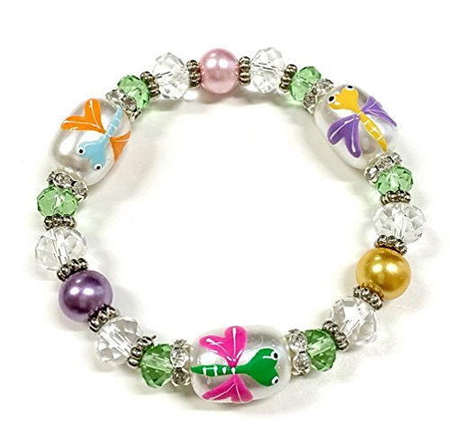 Linpeng Hand Painted Dragonfly Glass Beads Stretch Bracelets ()