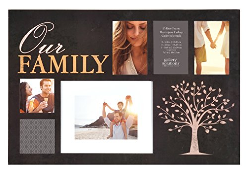 Gallery Solutions 24x16 Our Family 6 Opening Black Collage Wall Hanging Picture Frame