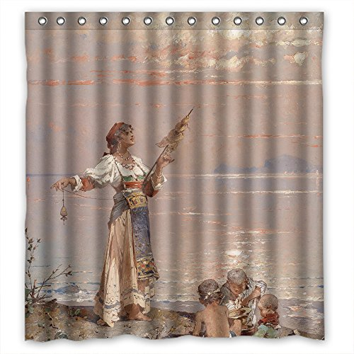 ZEEZON Bathroom Curtains Width X Height / 66 X 72 Inches / W H 168 By 180 Cm(fabric) Nice Choice For Family Boys Kids Boys Artwork. Eco Friendly Beautiful Scenery Landscape Painting Poly