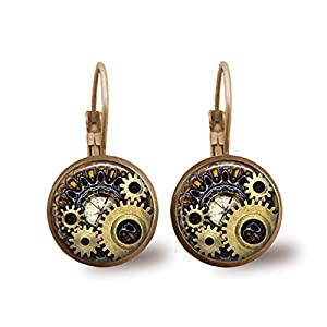 Steampunk Earrings Brass Earrings Glass Tile Earrings Glass Tile Jewelry