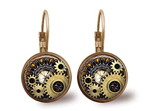 Steampunk Earrings Brass Earrings Glass Tile Earrings Glass Tile Jewelry