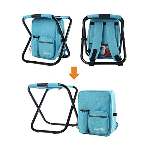 Sornean Large Multi Function Backpack Foldable Chair With Cooler Bag For ...
