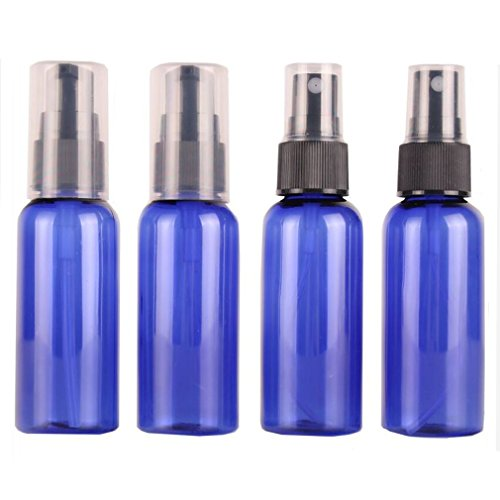 (Travel Spray Bottles 50ML - 4 Pack 1.76oz Empty Blue PET Plastic Refillable Cosmetic Perfume Atomizer Container Foamer Pump Bottle Mini Size for Essential Oils,liquids,Aromatherapy (2 Press + 2 Spray))