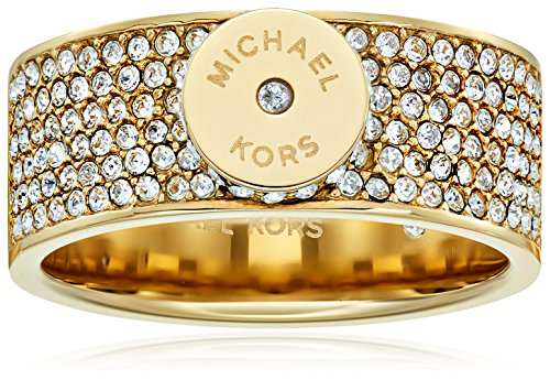"Michael Kors ""Logo"" Pave Gold-Tone Disc Ring, Size 7"