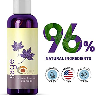 Sage Shampoo for Heavy Dandruff with Jojoba, Argan, and Organic Spikenard - 100% Natural, Sulfate Free Treatment for Men and Women - Antiseptic Formula Removes Dead Skin Cells and Reduces Shedding - S