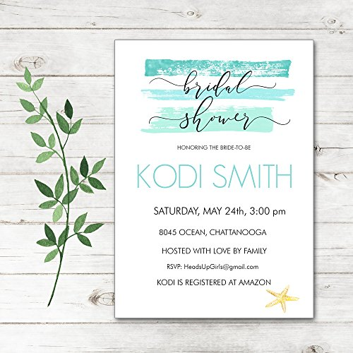 Set of 12 Personalized Bridal Wedding Shower Invitations and Envelopes with Watercolor Aqua Starfish Ocean Beach Travel NVB8045 by Heads Up Girls (Image #1)