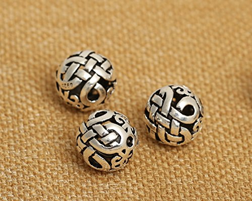 - Luoyi Vintage Thai Sterling Silver Beads, Round, Chinese Kont, Spacer Beads, DIY (C010Z)