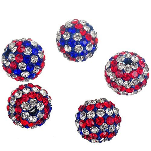Beads Premium Seed (RUBYCA USA Flag Czech Crystal Round Disco Ball Clay Beads fit Shamballa Jewelry (20pcs, 10mm))