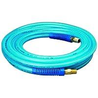 """Amflo 12-25E Azul 300 PSI Manguera de aire de poliuretano de 1/4 """"x 25 'con 1/4"""" MNPT extremos giratorios y accesorios de restricción de curva"""