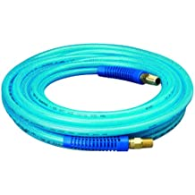 "Amflo 12-25E Blue 300 PSI Polyurethane Air Hose 1/4"" x 25' With 1/4"" MNPT Swivel Ends And Bend Restrictor Fittings"