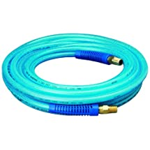 """Amflo 12-25E Blue 300 PSI Polyurethane Air Hose 1/4"""" x 25' With 1/4"""" MNPT Swivel Ends And Bend Restrictor Fittings"""