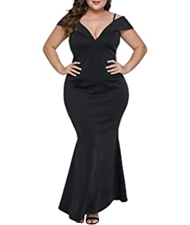 8d54aec1c5091 Lalagen Womens Plus Size Off Shoulder V Neck Long Evening Party Maxi Dress