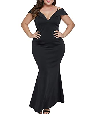 d04d8d9174 Lalagen Womens Plus Size Off Shoulder V Neck Long Evening Party Maxi Dress  Black 1X