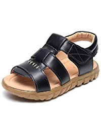 UBELLA Toddler Kids Boy's Leather Strap Open Toe Outdoor Sport Sandals Beach Flat Casual Shoes
