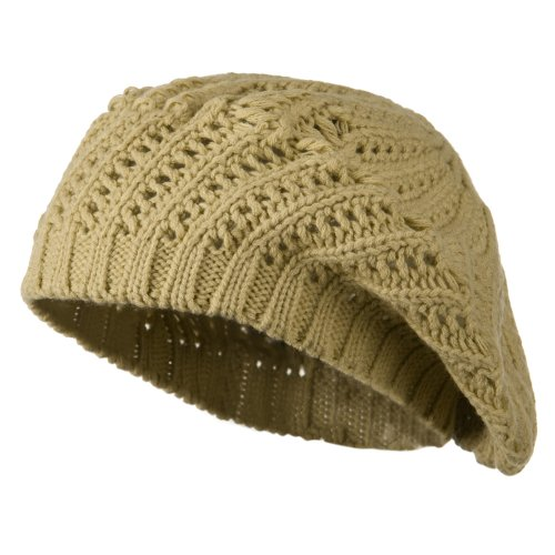 (Crocheted Knit Beret - Tan OSFM)