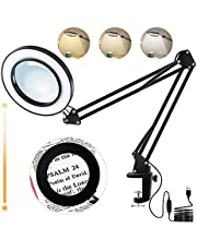 Magnifying Desk Lamp, LED Desk Light with 5X Magnifying Glass, 3 Color Modes 10 Brightness Levels, 8-Diopter Real Magnifying Glass Clamp Lamp, LED Lighted Magnifier for Repair, Reading, Crafts, Close Works