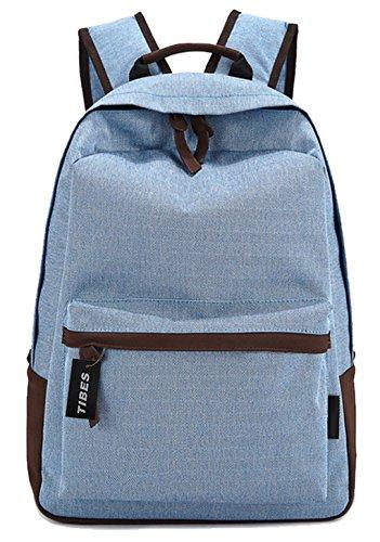 Tibes Vintage Canvas Unisex Backpack Large Light Blue