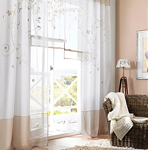LivebyCare 1pcs Flowers Embroidery Sheer Window Curtain Panel Drape Treatment Grommet Top Voil Drapery Room Divider Partition Decorative Vanlance Pelmet for Wedding Family Room Hotel by LivebyCare (Image #3)