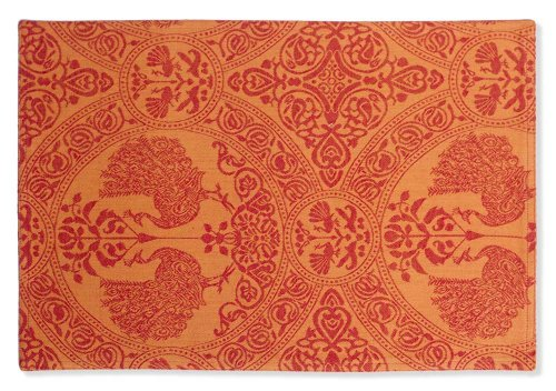 Mahogany Peacock 14-Inch by 20-Inch Orange/Red Placemat, Set of 4, Cotton Jacquard
