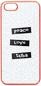 Graphics and More Peace Love Tuba Snap-On Hard Protective Case for iPhone 5/5s - Non-Retail Packaging - Red
