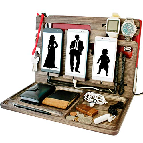 Wood Multiple Cell Phone Stand Watch Holder Men Device Dock Accessory Organizer Mobile Nightstand Tablet Charging Docking Station. Wooden Vertical Laptop Desk Storage Funny Bed Side Dresser Valet Tray