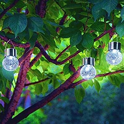 Sogrand 3pcs-PACK Crackle Glass Globe,Solar Lights Outdoor,Hanger on Top,Solar Garden Lights,for Garden,Party,Dinner,Celebration,Wedding,Holiday,Bedroom,Festival,Patio,Yard,Landscape